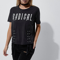 Petite dark grey 'radical' lace-up T-shirt - print t-shirts / tanks - t shirts / tanks - tops - women