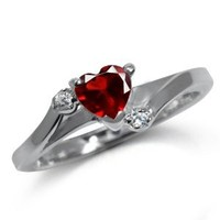 Heart Shape Ruby Red & White Cubic Zirconia (CZ) 925 Sterling Silver Engagement Ring