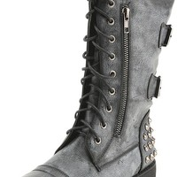 Nature Breeze Harley12 Black Studded Lace Up Combat Boots and Shop Boots at MakeMeChic.com