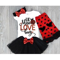 US 5PCS Valentine's Day Kids Baby Girl Short Sleeve Romper+Tulle Skirt Clothes