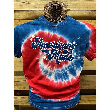 Southern Chics Apparel American Made USA Tie Dye Canvas Bright T Shirt