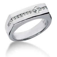 Round Brilliant Diamond Mens Ring in 14k white gold (0.45cttw, F-G Color, SI2 Clarity)