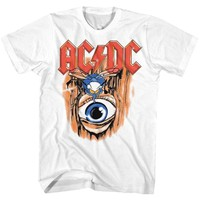 ACDC-VINTAGE FLY ON WALL-WHITE ADULT S/S TSHIRT