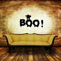 Boo with Cat Halloween Removable Vinyl Wall Decal 22459