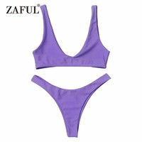 Zaful 2017 Women New High Cut Scoop Neck Bikini Set Low waisted Bralette Scoop Neck Solid Color Swimsuit Bathing Suits Bikini
