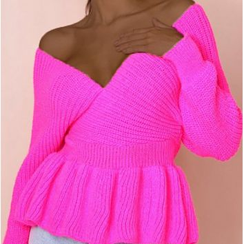 New hot sale sexy slim V-neck knitted long sleeve sweater women