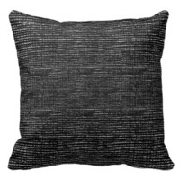 Charcoal Black White Woven Thread Effect Throw Pillow