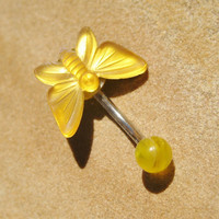 Belly Button Jewelry- Golden Yellow Butterfly Navel Ring Piercing Bar Barbell Stud Gold Monarch