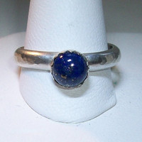 Blue Lapis Sterling Silver Ring Hammered Wire Gemstone Unique
