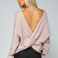 Round Neck Sweater With Open Back