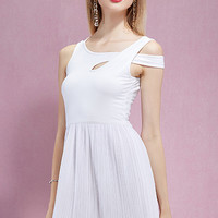 White Cut Out Pleated Skater Dress