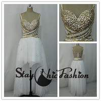 Gold Rhinestone Beaded White Illusion High Low Girls Prom Dress 2015 with Beaded Straps