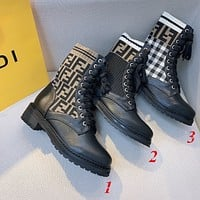 FENDI FF Fashion Women's Knit Boots