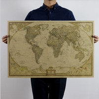 World Map Leather Sea Living Room Wall Sticker [8605200327]
