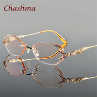 Chashma Brand Luxury Tint Lenses Myopia Glasses Reading Glasses Diamond Cutting Rimless Prescription Glasses for Women-in Eyewear Frames from Women's Clothing & Accessories on Aliexpress.com | Alibaba Group