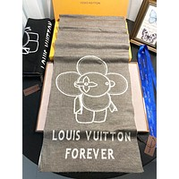 LV Louis Vuitton New fashion letter floral print couple scarf Gray No Box