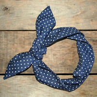 navy and white polka dot headscarf  / tie up headband / adjustable / summer fall / knotted headband / 4th of July / patriotic
