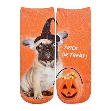 Trick Or Treat Puppy Ankle Socks