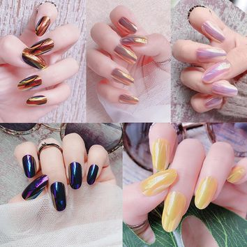 24 Pcs Fashion Chameleon Fake Nails Holographic Color Shiny Ladies Acrylic Nail Art Tips False Nails with Glue sticker