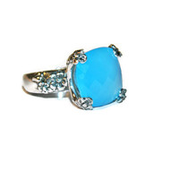 Chalcedony Ring, Huge 14mm Stone, Sterling Silver, Size 7