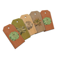 Succulents Plants Cactus Earthy Gift Tags Wood Gift Tag Set