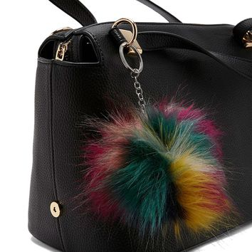 Colorful Faux Fur Keychain