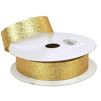Glitter Ribbon Christmas Gift-wrapping, 7/8-Inch, 25 Yards, Gold