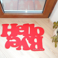 """Doormat personalized mat / rug with double message """"Hello / Bye"""". Red."""