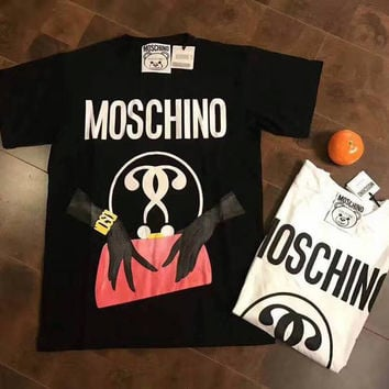 MOSCHINO Woman Men Fashion Print Scoop Neck Tunic Shirt Top Blouse