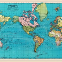 World Map of the Ocean Currents Full Color 1893