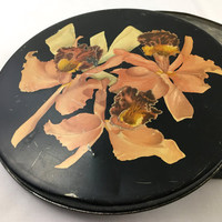 """1930's Helen Harrison's """"Orchid Box"""" Black Floral Round Decorative Tin Box Coral Pink Orchids Metal Storage Vintage Chocolate Candies Tin"""