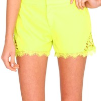 Soft Side Of Me Shorts - Lime Lace