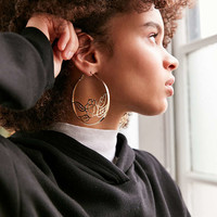Etched Rose Statement Hoop Earring - Urban Outfitters