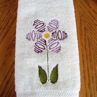 Mom Flower Bath Hand Towel embroidered in purples.