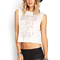 FOREVER 21 Led Zeppelin Muscle Tee Oatmeal/Red