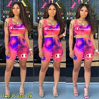 Champion Fashionable Women Print Gradient Shorts Sleeve Top Shorts Set Two Piece Sportswear 2#
