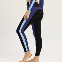 New Fashion Solid Color Stitching Yoga Pants Sports Tight Fitness Yoga Pants Blue