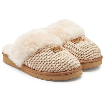 Cozy Knit Cable Slippers with Sheepskin
