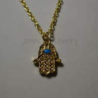 Gold Hamsa Hand with Turquoise Evil Eye Necklace