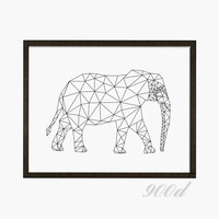 Geometric Elephant Canvas Art Print Painting Poster, Wall Pictures for Home Decoration, Home Decor FA383