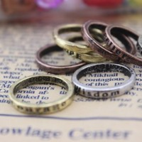 8 Pcs Set Vintage Fashion Mixed Charms Lettering Wishing Ring Rings US Size 6