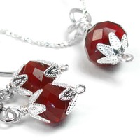 Deep Ruby Red Crystal Earrings And Necklace Set, Silver Plated