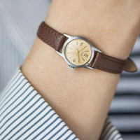 Tiny watch Glory round woman's wristwatch beige face rays ornament elegant design watch gift her genuine leather strap