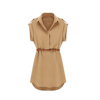 Short Sleeve Wing Collar High-Waisted Dress