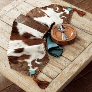 Cowhide and Turquoise Table Runner