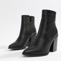 Prettylittlething block heel pointed western boots in black at asos.com