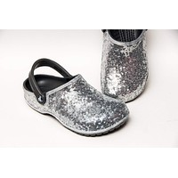 Silver Starlight Sequin Clogs