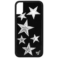 Black Velvet Silver Stars iPhone X/Xs Case