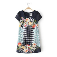 Women's Fashion Stylish Print Short Sleeve Slim Chiffon Dress One Piece Dress [5013336580]