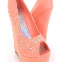 Light Coral Faux Suede Rhinestone Studded Peep Toe Platform Wedges @ Amiclubwear Wedges Shoes Store:Wedge Shoes,Wedge Boots,Wedge Heels,Wedge Sandals,Dress Shoes,Summer Shoes,Spring Shoes,Prom Shoes,Women's Wedge Shoes,Wedge Platforms Shoes,floral wedges,